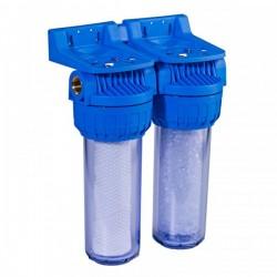 """Porte filtre duplex Anti boue 20 µ - Anti Calcaire (9""""3/4-3/4"""")"""